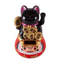 Кошечка Манеки-Неко на Даруме (черная)