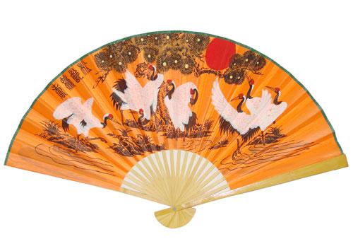 Шелковый веер с журавлями ( оранжевый)