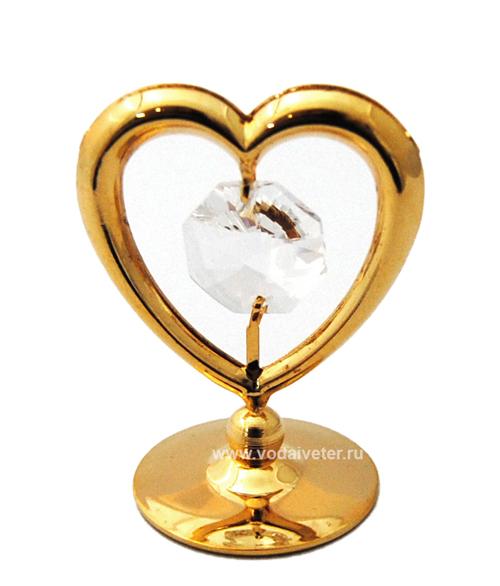 Сердце с хрусталиком swarovski