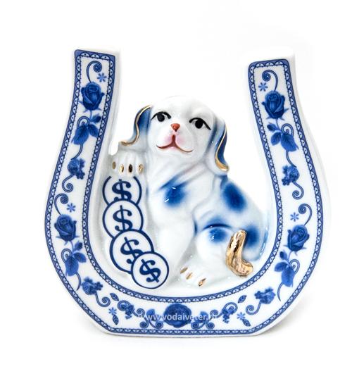 Собака с подковой синяя (фарфор)